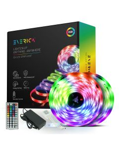 EVERICA RGB Flexible Color Changing Remote Control 32.8ft Waterproof Led Light Strip for Bedroom Home Decoration TV Gaming Room Party Balcony and Camping